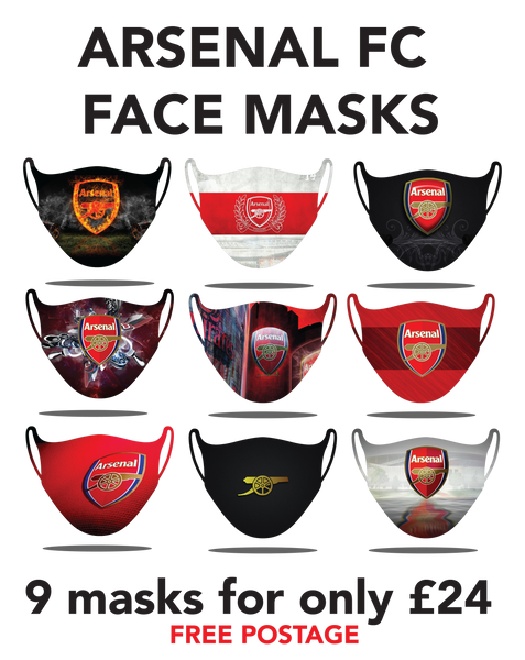 Arsenal Protective washable face masks. Fits kids or adults, 9pcs for only 24pounds