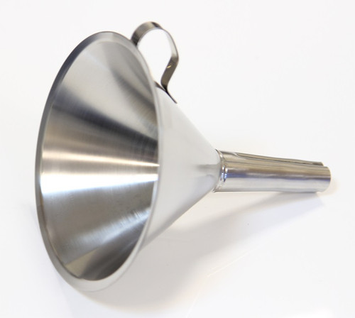 FUNNEL 304 STAINLESS STEEL 150 mm DIAMETER  Description Stainless Funnel Material of Construction: 304 stainless steel Surface Finish: Better than 0.5 microns Ra Top Diameter: 150mm Outer Diameter of Spout: 20mm Overall Length: 170mm Nominal Spout Length: 85mm Nominal Weight: 170g Side Handle: Spot welded to cone section of funnel