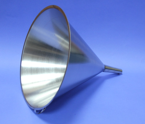 FUNNEL 304 STAINLESS STEEL 310 mm DIAMETER Description Stainless Funnel Material of Construction: 304 stainless steel Surface Finish: Better than 0.5 microns Ra Top Diameter: 310mm Outer Diameter of Spout: 20mm Overall Length: 325mm Nominal Spout Length: 88mm Nominal Weight: 530g Side Handle: Spot welded to cone section of funnel