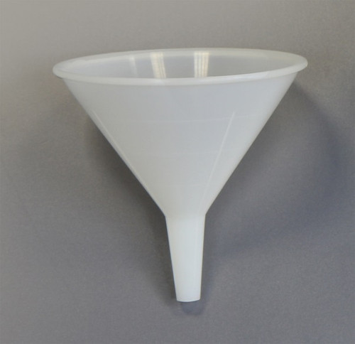 Description Disposable Funnel – 100mm diameter Material of Construction: High Density Polyethylene (HDPE) - virgin • Conforms to FDA CFR 177.1520 • Conforms to EU Regulations 10/2011 • Conforms to EC Regulations 1935/2004  Method of Construction: Single piece, injection moulded Max. Diameter: 108mm Overall Height: 108mm OD at Bottom of Spout: 10mm ID at Bottom of Spout: 7mm ID at Top of Spout: 14mm Nominal Weight: 19g Moulding & Packing Environment: Class 100,000 Cleanroom Individually Bagged? Yes (heat sealed PE bag) Method of Sterilisation: N/A Material BSE/TSE Free Yes Number of Funnels per Box: 50 BSE/TSE Free: Yes Recommended Storage Conditions: Dry and ambient temperature