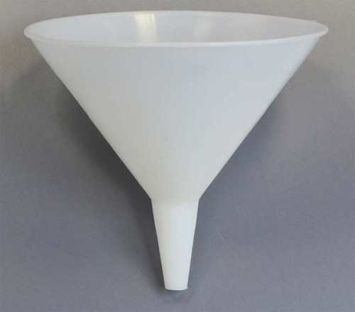 Description Disposable Funnel – 200mm diameter Material of Construction: High Density Polyethylene (HDPE) - virgin • Conforms to FDA CFR 177.1520 • Conforms to EU Regulations 10/2011 • Conforms to EC Regulations 1935/2004  Method of Construction: Single piece, injection moulded Max. Diameter: 195mm Overall Height: 190mm OD at Bottom of Spout: 15mm ID at Bottom of Spout: 11mm ID at Top of Spout: 30mm Nominal Weight: 91g Moulding & Packing Environment: Class 100,000 Cleanroom Individually Bagged? Yes (heat sealed PE bag) Method of Sterilisation: N/A Material BSE/TSE Free Yes Number of Funnels per Box: 20 BSE/TSE Free: Yes Recommended Storage Conditions: Dry and ambient temperature