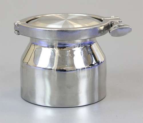 """Description Clamp Container 1L Nominal Volume: 1000ml Material of Construction: Body: 316 stainless steel Lid: 316 stainless steel Clamp: 316 stainless steel (may be 304 stainless steel) Gasket: Silicone (conforms to FDA CFR 177.2600) Method of Construction: Crevice free body, welds ground & polished Surface Finish: Better than 0.5 microns Ra Nominal Overall Height: 117mm Nominal Body Height: 110mm Body Diameter: 132mm Nominal Weight (body, lid, clamp & gasket): 2.1 Kg Note: The neck of the container is fitted with a 4"""" diameter ferrule which conforms to BS4825-3"""