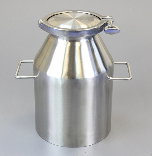 """Description Clamp Container 5L Nominal Volume: 5L Brimful Volume: 5.4L Material of Construction: Body: 316 stainless steel Side Handles: 304 stainless steel Lid: 316 stainless steel Clamp: 316 stainless steel (may be 304 stainless steel) Gasket: Silicone (conforms to FDA CFR 177.2600) Method of Construction: Crevice free body, welds ground & polished Surface Finish: Better than 0.5 microns Ra Overall Height: 272mm Body Height: 257mm Body Diameter: 182mm Nominal Weight (body, lid, clamp & gasket): 3.7 Kg Note: The neck of the container is fitted with a 4"""" diameter ferrule which conforms to BS4825-3"""