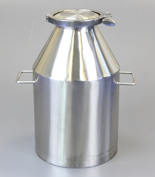 """Description Clamp Container 10L Nominal Volume: 10L Material of Construction: Body: 316 stainless steel Side Handles: 304 stainless steel Lid: 316 stainless steel Clamp: 316 stainless steel (may be 304 stainless steel) Gasket: Silicone (conforms to FDA CFR 177.2600) Method of Construction: Crevice free body, welds ground & polished Surface Finish: Better than 0.5 microns Ra Overall Height: 368mm Body Height: 342mm Body Diameter: 222mm Nominal Weight (body, lid, clamp & gasket): 5.0 Kg Note: The neck of the container is fitted with a 4"""" diameter ferrule which conforms to BS4825-3"""
