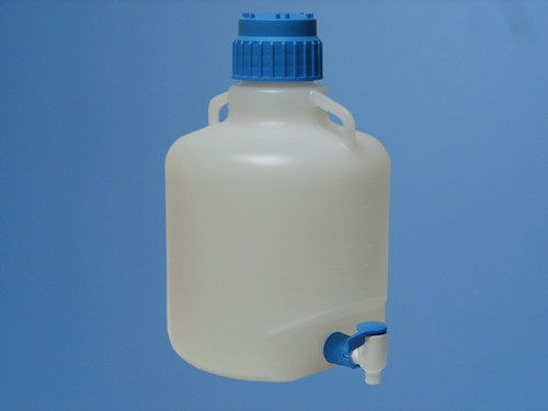 Description Carboy 10L with Stopcock Materials of Construction: 10L Carboy PP (conforms to FDA 177.1520 & USP Class VI) Cap PP (conforms to FDA 177.1520 & USP Class VI) Ring Seal TPE (conforms to FDA 177.1810 & USP Class VI) Stopcock PP (conforms to FDA 177.1520 & USP Class VI)  Nominal Volume: 10 Litres Nominal Height: 390mm Max. Diameter: 250mm Internal Neck Diameter: 65mm Autoclavable? Yes Weight: 1.3Kg