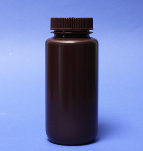 Description Wide Mouth AMBER HDPE Bottle 500ml Materials of Construction: Bottle HDPE  (conforms to FDA 177.1520 & USP Class VI) Cap PP (conforms to FDA 177.1520 & USP Class VI) Manufacturing Environment: Controlled environment within factory Nominal Volume: 500ml Brimful Volume: 555ml Nominal Height: 169mm Diameter: 73mm Internal Neck Diameter: 43mm Weight: 68g Pack Size: 48 per bottles per case Method of Sterilization: N/A (these bottles are non-sterile) BSE/TSE Free: Yes Supplied with lid screwed on: Yes