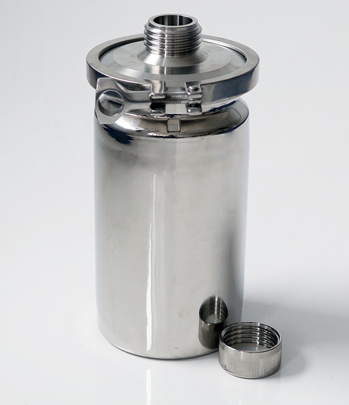 Stainless Container 2L with External GL45 Thread • Multi purpose containers • Heavy duty construction • Crevice free interior • 316L stainless steel construction • Lid can be completely removed for full cleaning