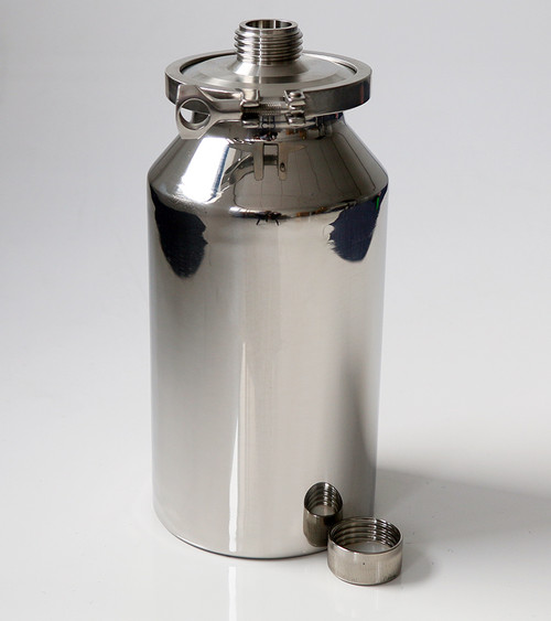 Stainless Container 5L with External GL45 Thread • Multi purpose containers • Heavy duty construction • Crevice free interior • 316L stainless steel construction • Lid can be completely removed for full cleaning