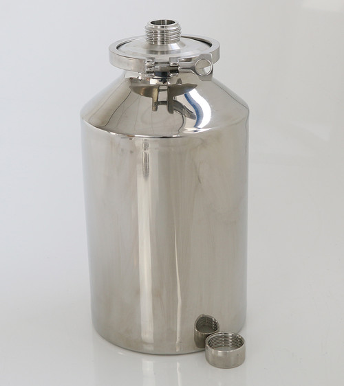 Stainless Container 10L with External GL45 Thread • Multi purpose containers • Heavy duty construction • Crevice free interior • 316L stainless steel construction • Lid can be completely removed for full cleaning