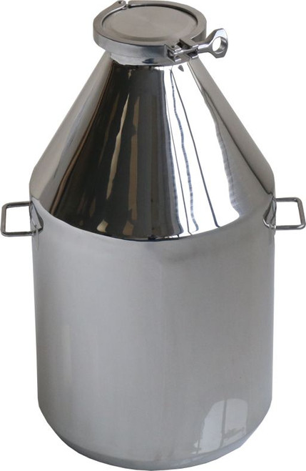 """Description Clamp Container 25 L Nominal Volume: 25L Material of Construction: Body: 316 stainless steel Side Handles: 304 stainless steel Lid: 316 stainless steel Clamp: 316 stainless steel (may be 304 stainless steel) Gasket: Silicone (conforms to FDA CFR 177.2600) Method of Construction: Crevice free body, welds ground & polished Surface Finish: Better than 0.5 microns Ra Body Height: 535 mm Body Diameter: 303 mm Nominal Weight (body, lid, clamp & gasket): 5.85 Kg  Note: The neck of the container is fitted with a 4"""" diameter ferrule which conforms to BS4825-3"""