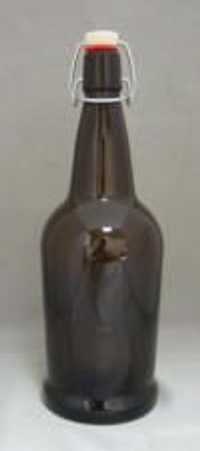 Amber 1 Liter Flip-Top Bottles