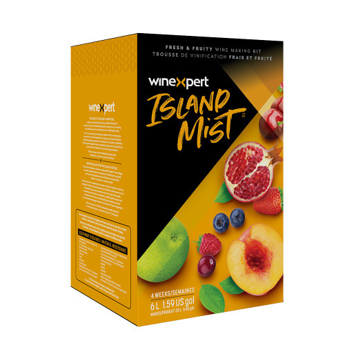 ISLAND MIST RASPBERRY PEACH SANGRIA 6L WINE KIT. Ripe red raspberry mix with juicy peach undertones. Fruity, refreshing, & easy drinking. ABV: 6%, BODY: Light, OAK: None, SWEETNESS: Sweet