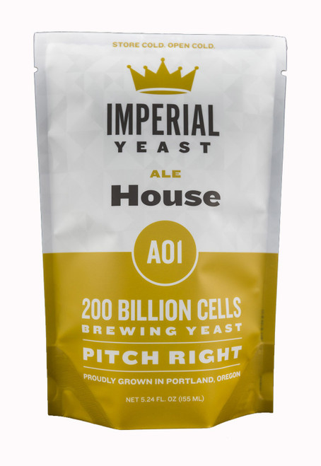 The best of both worlds, House is clean and allows malt and hops to shine. This strain is extremely versatile and flocculent enough to drop out of the beer quickly. Best used in American IPAs but works well in English style ales. House is clean at cold temperatures with increased esters as fermentation temperatures increase.  Temp: 62-70F, 16-21C // Flocculation: High // Attenuation: 73-75%