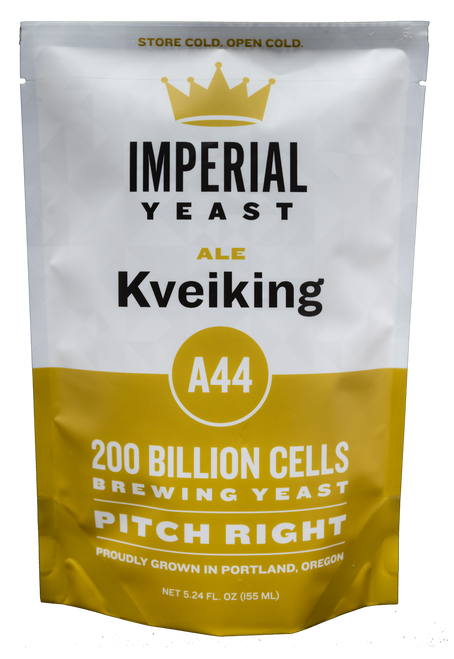 Blend of 3 kveik strains conquers wort, leaving tropical fruit flavors in its wake. Kveiking [Kuh-vahy-king] noun: A blend of three Kveik strains that can produce an insane amount of pineapple, guava and other exotic tropical fruit aromas. verb: Hopefully not an Old Norse term for an activity we should not be promoting. The Kveiking blend thrives in hot fermentations when big complex ester profiles are desired. A low pitch rate can be used to drive these aromatics even higher but the brewer should ensure this low pitch rate can be combined with a continuously high fermentation temperature. If the temperature drops too low, the corresponding level of attenuation can be low, with high terminal gravities. This blend contains flocculent and non-flocculent yeast strains, therefore the clarity of the final beers produced can be variable. Use this blend for anything from new school hazy IPAs to traditional Norwegian farmhouse brews. The Kveiking blend also works well when fermenting kettle soured worts for a strong tropical fruit character. Temp:   75–97°F (24–36°C)//  Flocculation:  Low //  Attenuation:  75–85% //  Alcohol Tolerance:  12%