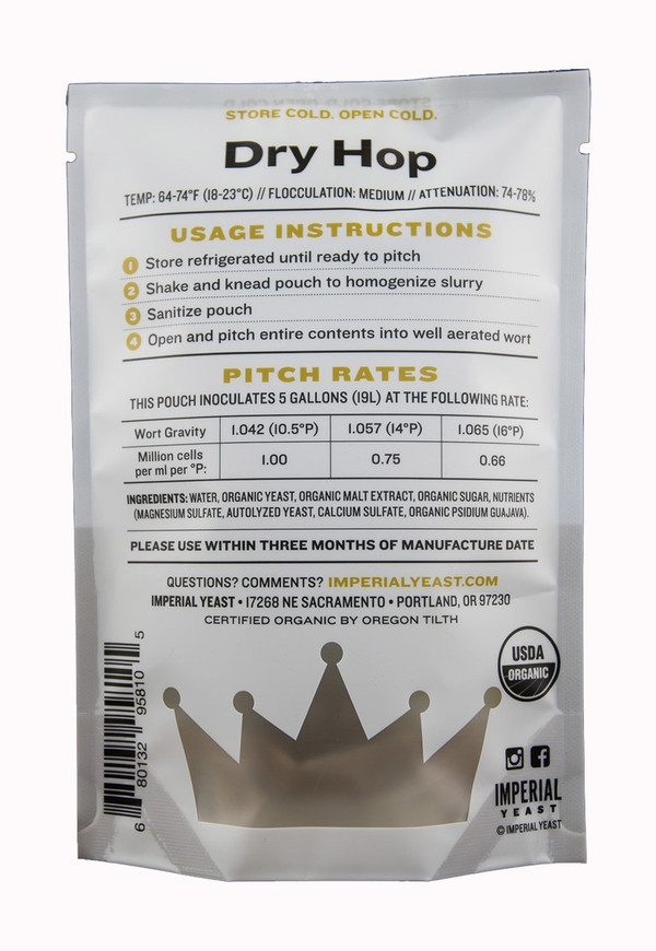 Dry Hop is a blend of A20 Citrus and A04 Barbarian.  When this blend goes to work on your hoppy beer, the hop aroma blows up.  The combination of these strains produces amazing aromas of citrus, peach, and apricot that will accentuate your IPA, pale ale, and any other hop-driven beer.  Temp: 64-74F, 18-23C // Flocculation: Medium // Attenuation: 74-78%  This blend contains a strain that tests positive for the STA1 gene via PCR analysis and is therefore considered to be Saccharomyces cerevisiae var. diastaticus.