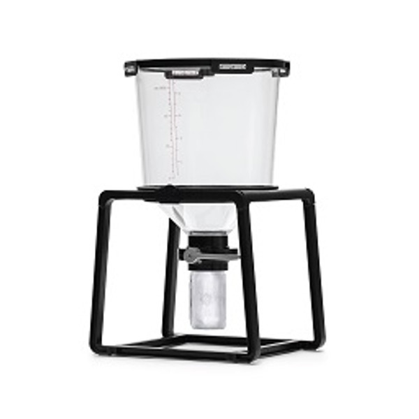 """6.5 gallon capacity.  Conical tank with 45˚angle. Silicone gasket with multi-surface contact to ensure a perfect seal. Includes a proprietary 3"""" butterfly valve. The largest in the industry. All steps in one vessel: Primary, Secondary, Harvest Yeast and Bottling. Strong and durable stand, designed with I-Beam and honeycomb structure. Our Trub TrapTM is compatible with any wide mouth jar to eliminate transfers. The Trub TrapTM consists of a 3"""" butterfly valve and is compatible with any wide mouth mason jar so you can remove kettle trub and fermentation trub, pitch a yeast starter, harvest yeast and bottle without disturbing or oxidizing that precious beer.  The Catalyst's tank is made from Tritan®, a medical-grade, BPA-free, polymer. This food-safe polymer is the highest quality used in a fermenter, providing the clarity of glass with the durability and convenience of plastic. This material acts as an excellent barrier against oxygen, making our tank 93% more scratch-resistant than other plastic fermenters. It is dishwasher safe and withstands temperatures of up to 230º Fahrenheit."""