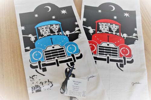 Moonlight Ride Dishtowel by JMohr (RED)
