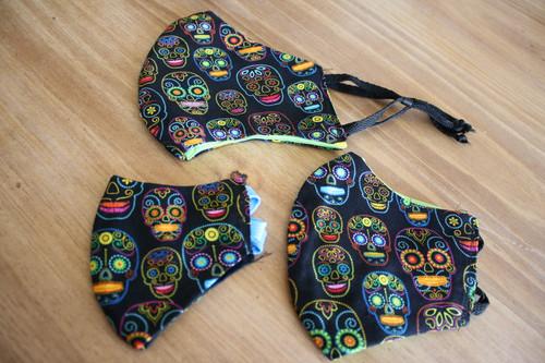 Neon Dia De Los Muertos Face Masks