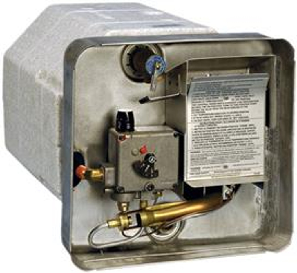 Water Heater; LP; Model Number SW6P; 6 Gallon Tank; Pilot Ignition; 12000 BTU; 12-11/16 Inch Width x 12-11/16 Inch Height x 16-3/16 Inch Depth; 28.3 Pounds; Non Portable