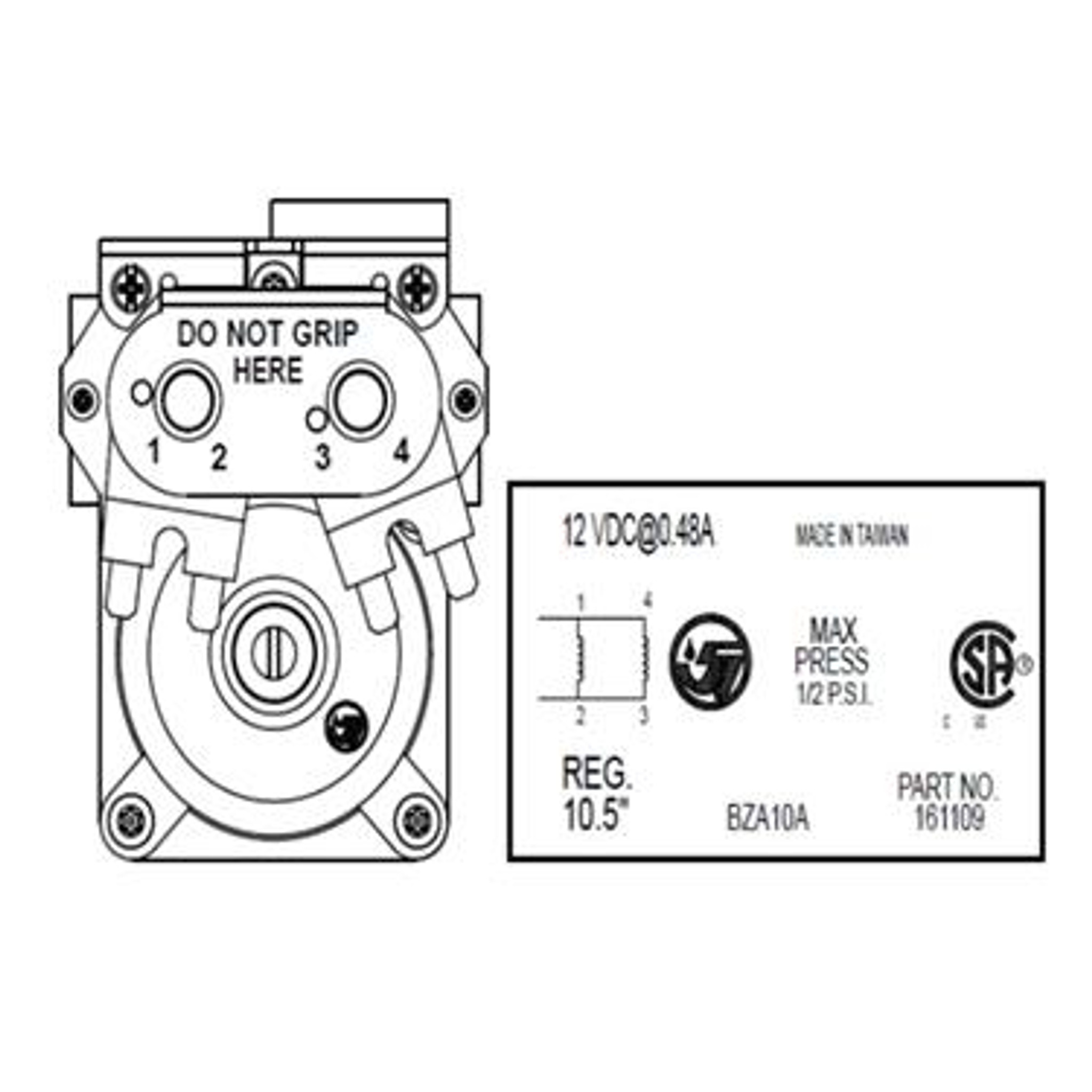 Suburban Gas Solenoid Valve 521075 (for SF and SFQ