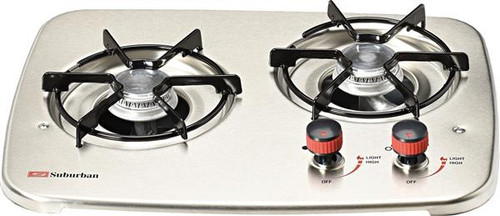 Stove; Drop-In Cooktop; 16-3/8 Inch Width; Match Light; 6500 BTU Burner; 2 Burner; With Single Piece Grate