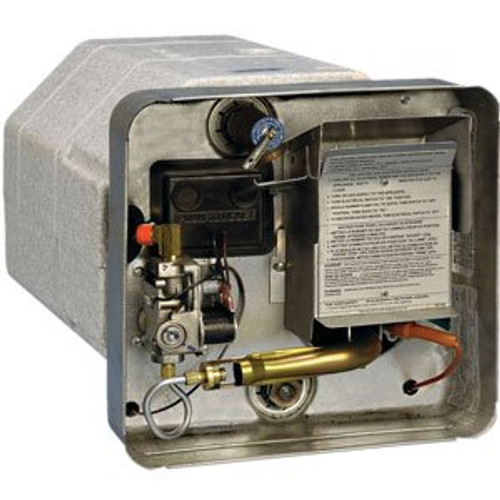 Water Heater; Gas-Electric; Model Number SW12DEL; 12 Gallon; Direct Spark Ignition; 12000 BTU; 16-7/32 Inch Height x 16-7/32 Width x 22-1/4 Inch Depth; With 12 Volt Relay