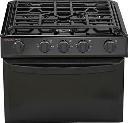 Stove; Range; Black; 17 Inch Width; Piezo Ignition; 9000 BTU For Front Burner With Liner Valve; 3 Burner; Without Broiler