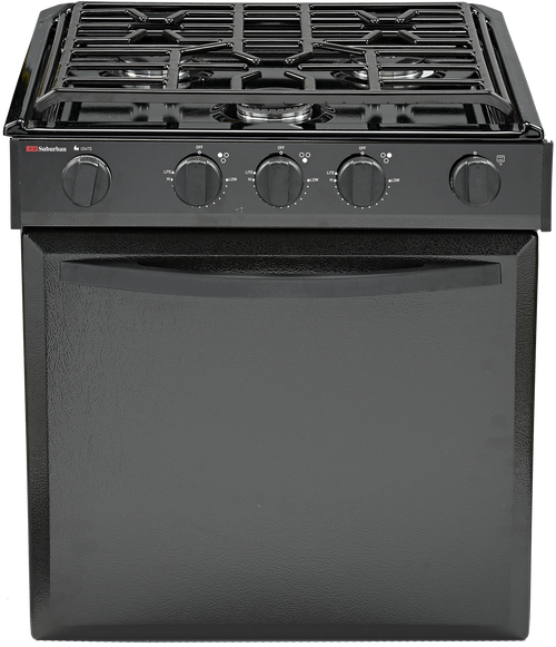 Stove; Elite ™; Range; Model Number SRNLXB2B1XBP1EX; Black Porcelain Top/ Black Panel Door/ Black Plastic Door Handle/ Black Control Panel And Knobs; 22 Inch Oven Height; 21-3/4 Inch Height x 20-5/8 Inch Width x 18-5/8 Inch Depth Cut-Out Dimensions; Piezo Ignition; 9000 BTU For Front Burner And 6500 BTU 2 Rear Burners; 3 Conventional Burners; With Deluxe Grate; Without Oven Light/ Backlit Knobs/ Glass Cover
