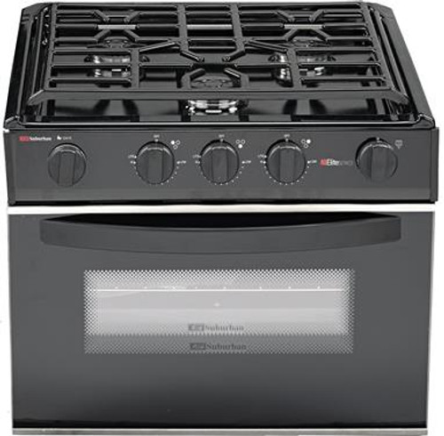 Stove; Range; Model Number SRSA3SBBEZ; Black; 17 Inch Width; Piezo Ignition; 9000 BTU Main Burner And Two 6500 BTU Rear Burners; 3 Burner; With Deluxe Grate; Single