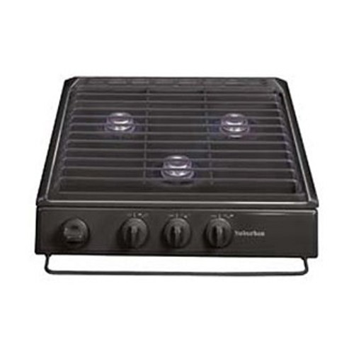 Stove Top Cover; Slide-In Cooktop; Black; Match Ignition; 9000 BTU Front Burners and 6500 BTU Rear Burners; 3 Burner; Removable Steel Grate