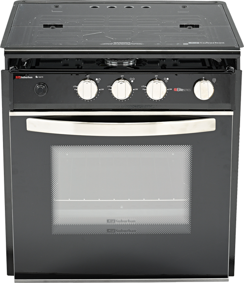 Stove; Range; Model Number SRNA3LBVEZC; Black Porcelain Top With Open Glass Door; 21 Inch Width; Piezo Ignition; 9000 BTU Main Burner And Two 6500 BTU Rear Burners; 3 Burner; With Deluxe Grate And Cover; Single