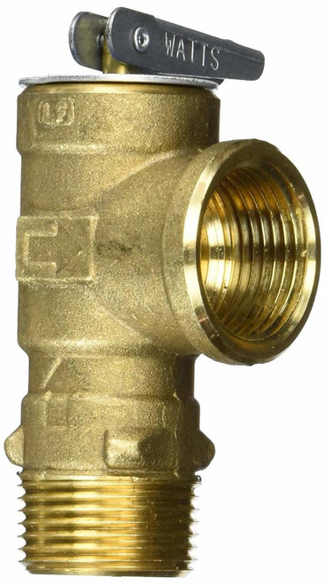 Water Heater Pressure Relief Valve; 3/4 Inch NPT Valve Size; 150 PSI Rating; 80,000 BTU Rating; Brass Body; Stainless Steel Spring
