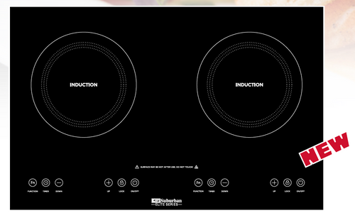 Stove; Induction Cooktop (Model SIA-1002); Black Glass Top; 23.6 Inch Width x 15.3 Inch Length x 3.5 Inch Depth; Electronic Ignition; 1800 Watt; Double Burner