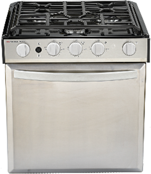 Stove; Elite ™; Range; Model Number SRNLXB1S2XSP3EX; Black Porcelain Top/ Stainless Panel Door/ Silver Metal Door Handle/ Stainless Control Panel And Silver Knobs; 22 Inch Oven Height; 21-3/4 Inch Height x 20-5/8 Inch Width x 18-5/8 Inch Depth Cut-Out Dimensions; Piezo Ignition; 9000 BTU For Front Burner And 6500 BTU 2 Rear Burners; 3 Conventional Burners; With Wire Grate; Without Oven Light/ Backlit Knobs/ Glass Cover