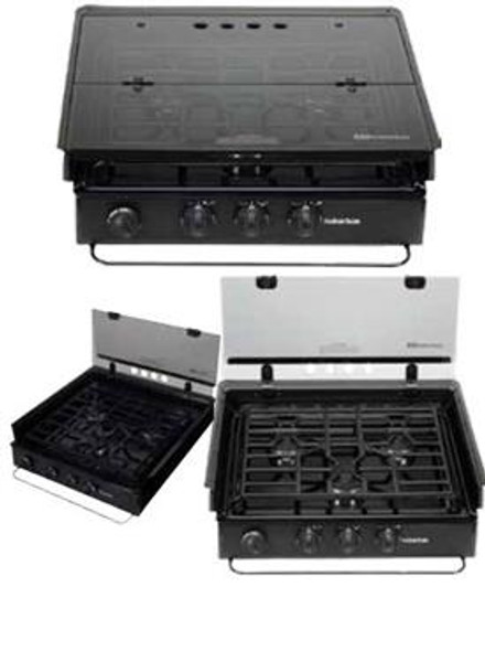Stove Top Cover; For Slide-In Cooktops And Ranges; 17 Inch x 22 Inch; Flush Mount; Glass; Bi-Fold Cover