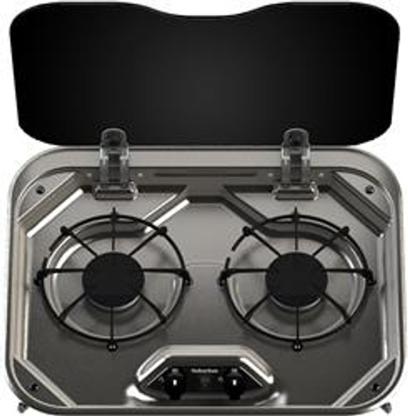 Stove; Drop-In Cooktop; Model SDS2SS; Stainless Steel; 16-3/8 Inch Width; Spark Light; 5800 BTU Burner; 2 Burner; With Single Piece Grate Per Burner And Built-In Flush Mount Glass Cover