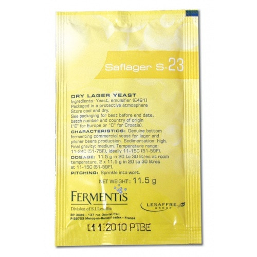 S-23 SafLager Dry Lager Yeast 11.5g