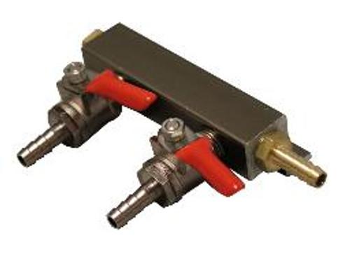 "2-Way Gas Manifold with 1/4"" barbs"