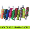 Pack Of 10 X Fluro Horse Lead Ropes