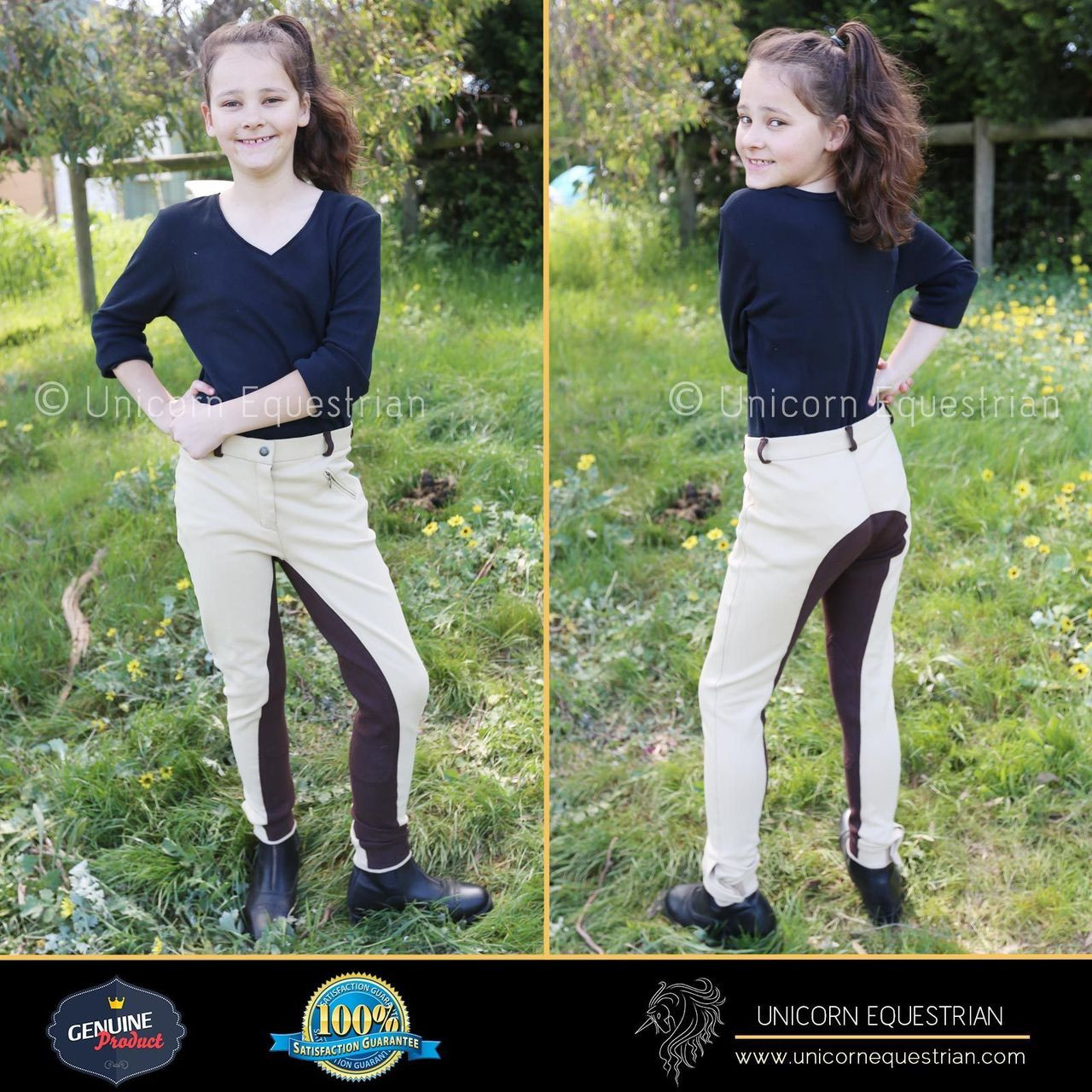 Kids Beige Horse Riding Breeches Unicorn Equestrian