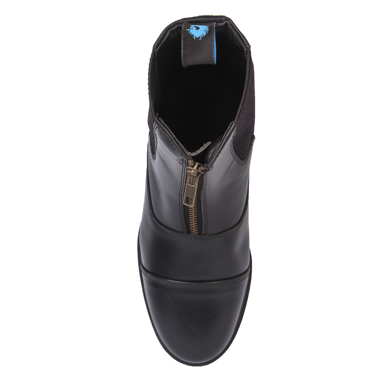 Genuine Leather Zip Front Paddock Boots Black