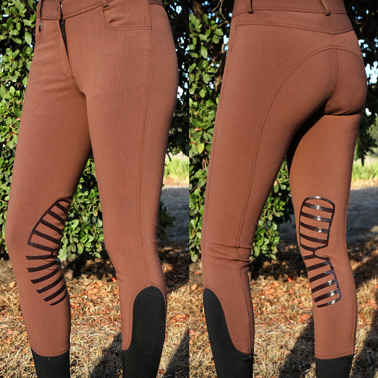 Ladies Silicone Patch Breeches Mid Waist Brown