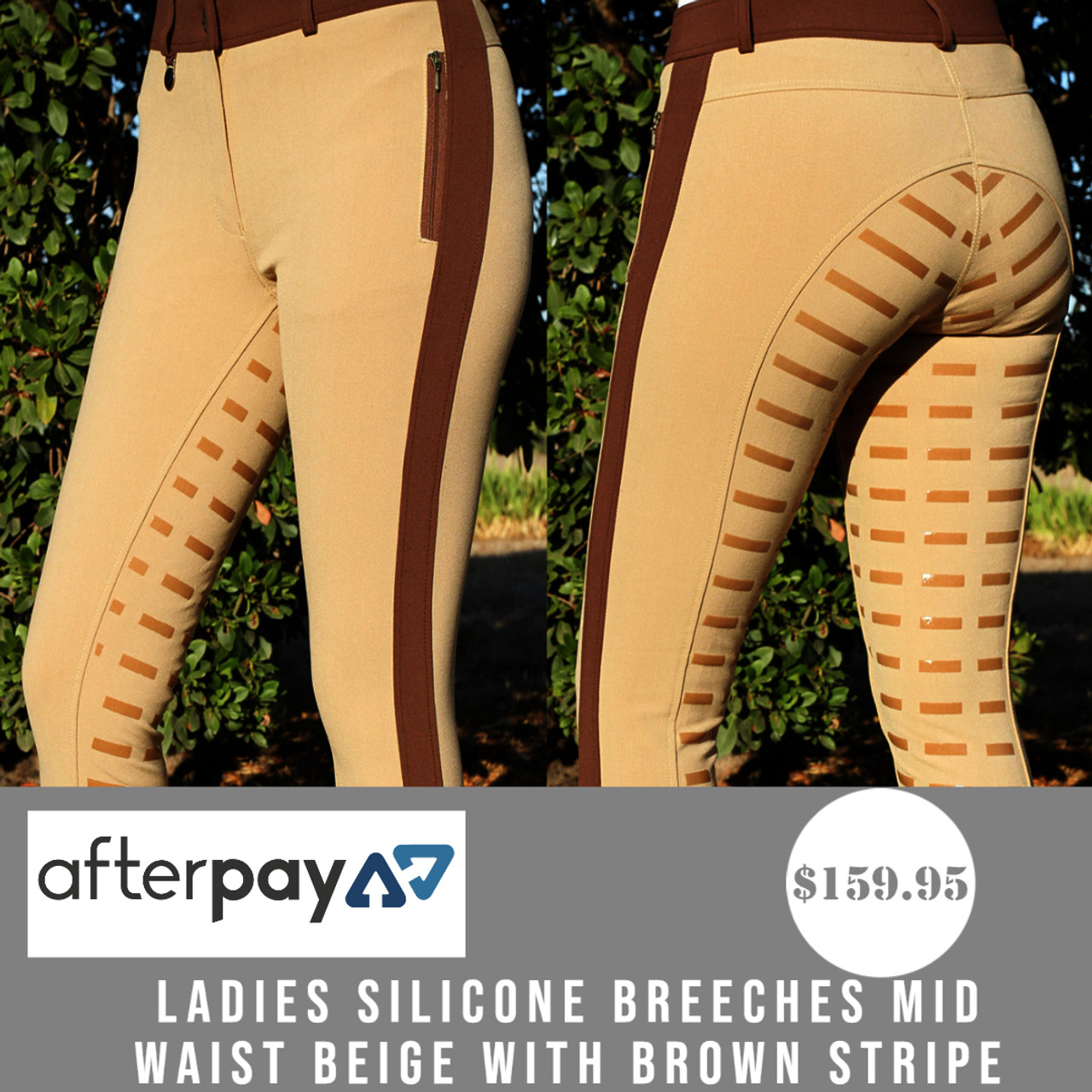Ladies Silicone Breeches Mid Waist Beige With Brown Stripe