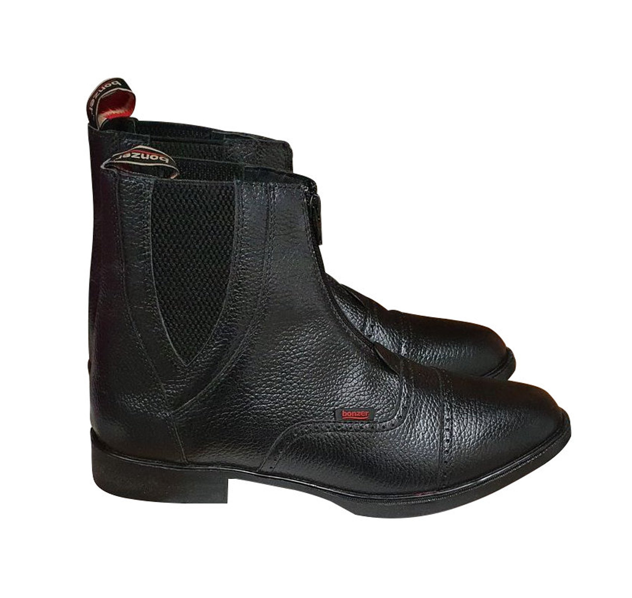 Leather Front Zip Boots
