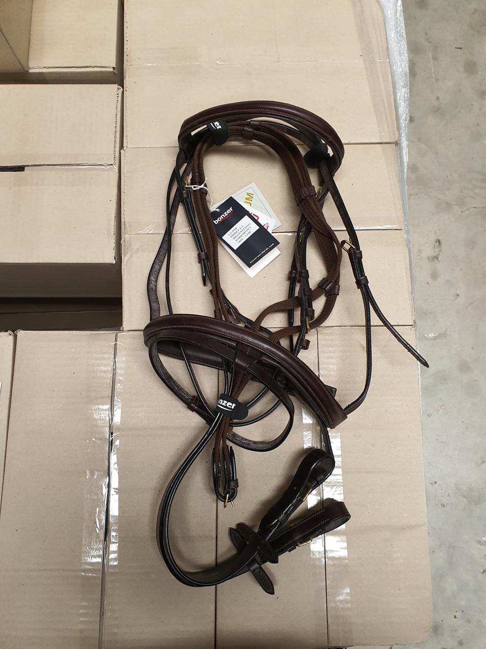 Bonzer Bridle E/L Brass fittings Dark Brown With Reins