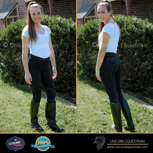 Black Denim Look Jodhpurs Breeches Super Stretchy Riding Jeans All Sizes