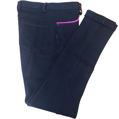 Black Kids Breeches With Pink Piped Pockets