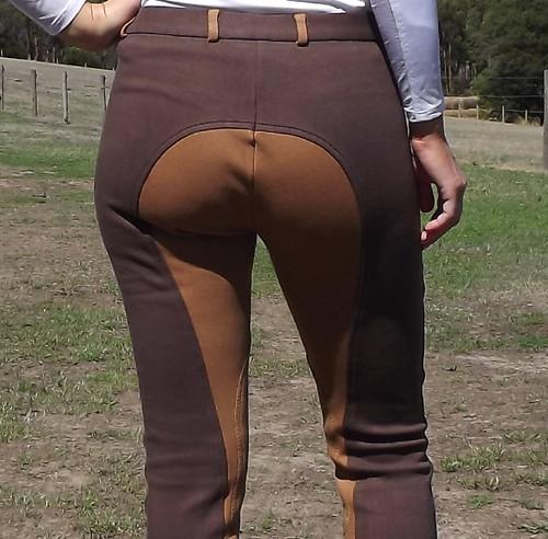 Two Tone Jodhpurs Choco Brown n Light Brown with Self Seat Knee Patch