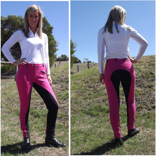Two Tone Jodhpurs Pink n Black with Self Seat Knee Patch