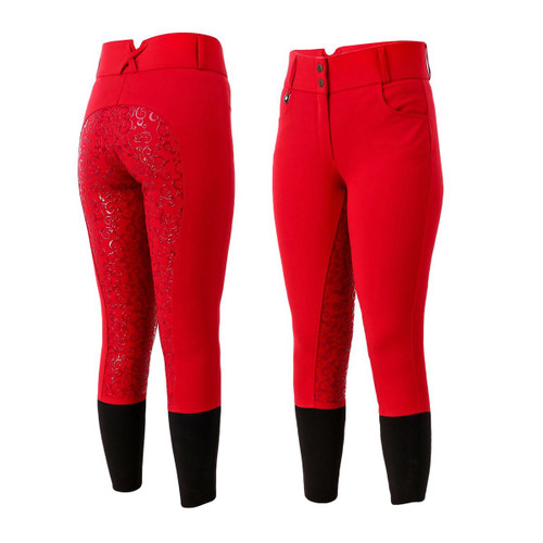 Unicorn Ladies Red High Waisted Silicone Grip Breeches